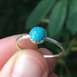 Jewelry - sterling silver blue turquoise stacking ring ✨
